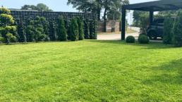 Ny have med rullegræs og carport
